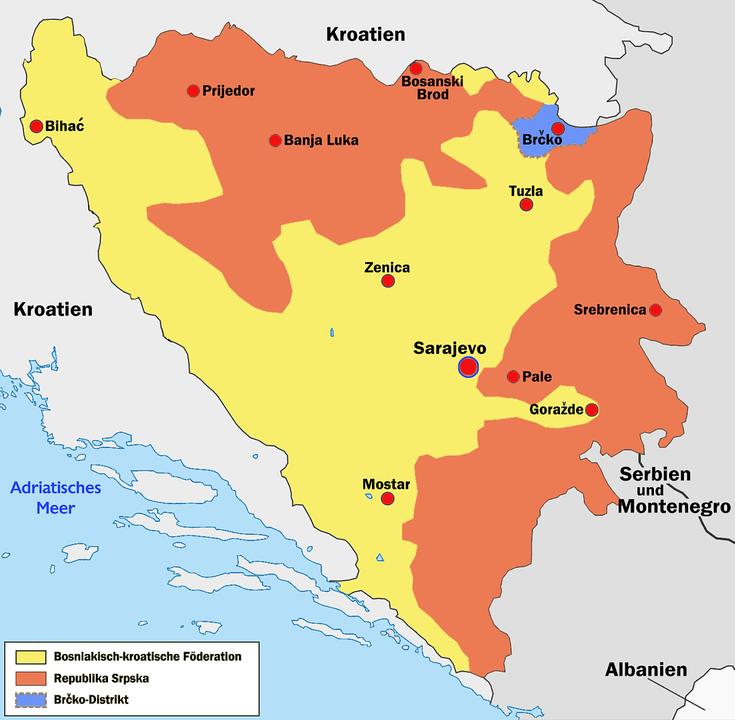 Rot: Republika Srpska, Gelb: Föderation